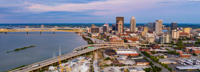 Aerial Perspective over Downtown Louisville Kentucky on the Ohio River