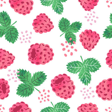 Seamless watercolor raspberry pattern. Vector illustration with berries and leaves.