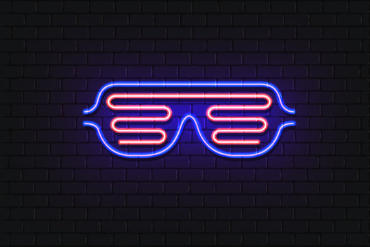 Vector illustration of neon shutter shades. Retro 80's style slot glasses. Neon glowing sunglasses