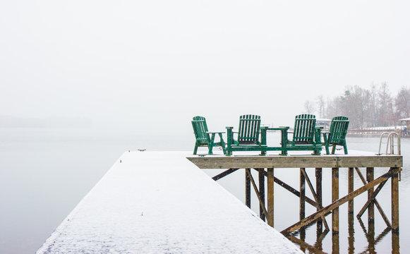 Snow on a dock
