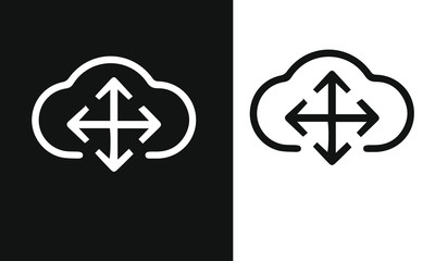 Cloud computing icon vector design black and white background