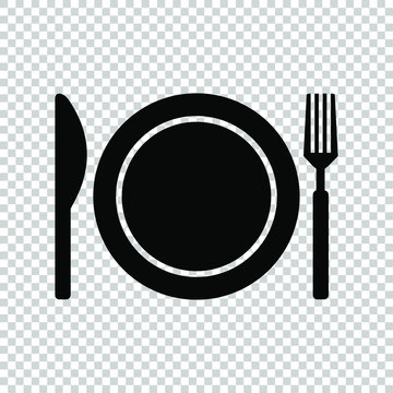knife plate fork icon isolated on transparent background