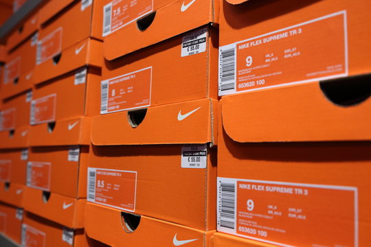 BELGIUM - OCTOBER 17: Background of Nike shoes boxes at Maasmechelen Village outlet  on October 17