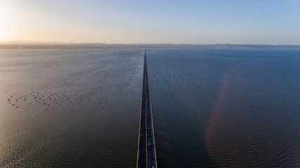 Aerial. Vasco da Gama bridge over the Tagus River in the capital of Lisbon.