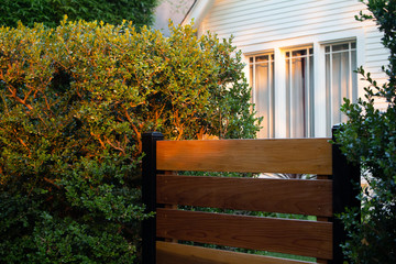 golden hour light on wooden gate and shrub with old white a frame house