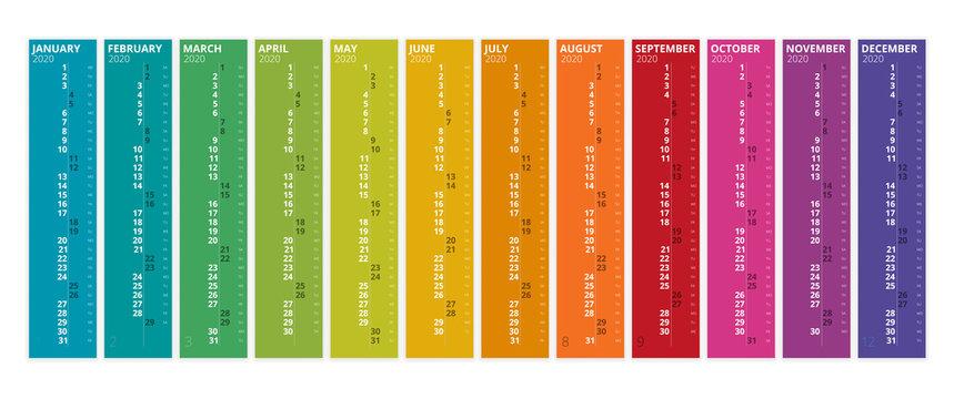 2020 Calendar. Print Template. Week Starts Sunday. Portrait Orientation. Set of 12 Months. Planner for 2020 Year.