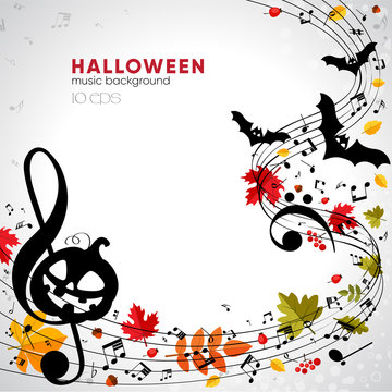 Bright musical autumn halloween background with pumpkin, bats and leaves. Musical Composition at Halloween Party