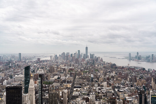 New York, New York, USA skyline, view from the Empire State building in Manhattan, architecture photography