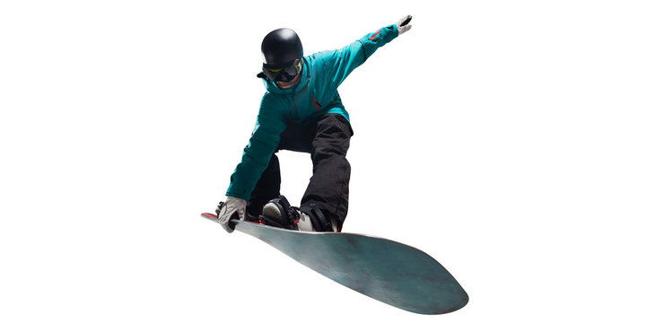 Snowboarding isolated on white.