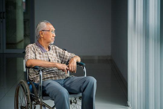 Senior man sits in the wheelchair near the window