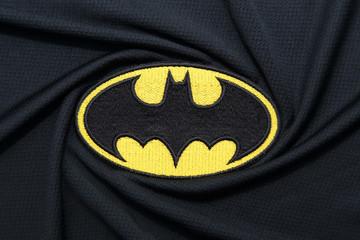BANGKOK, THAILAND -SEPTEMBER 24: Batman Logo on Dark Fabric on September 24