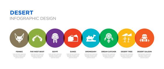 8 colorful desert vector icons set such as desert saloon, desert tree, dream catcher, dromedary, dunes, egypt, far west boot, fennec