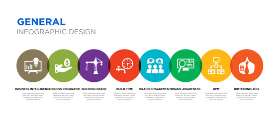 8 colorful general vector icons set such as biotechnology, bpm, brand awareness, brand engagement, build time, building crane, business incubator, business intelligence