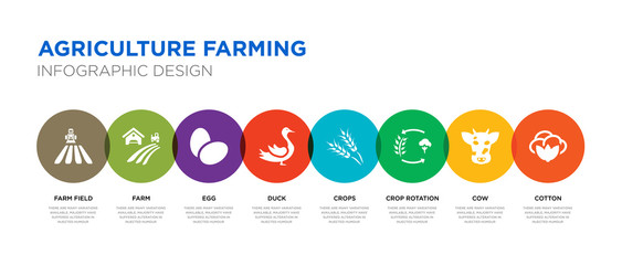 8 colorful agriculture farming vector icons set such as cotton, cow, crop rotation, crops, duck, egg, farm, farm field