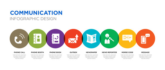 8 colorful communication vector icons set such as message, morse code, news reporter, newspaper, outbox, phone book, phone booth, phone call