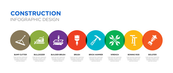 8 colorful construction vector icons set such as bolster, boning rod, wrench, brick hammer, brush, builder brush, bulldozer, bump cutter
