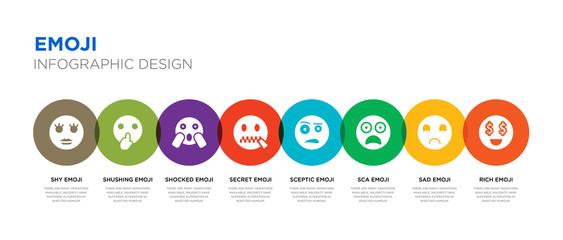 Slats personalizados com sua foto 8 colorful emoji vector icons set such as rich emoji, sad emoji, sca sceptic secret shocked shushing shy