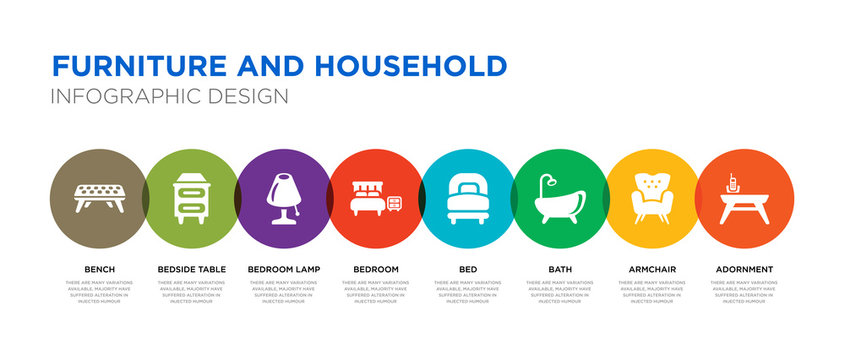 8 colorful furniture and household vector icons set such as adornment, armchair, bath, bed, bedroom, bedroom lamp, bedside table, bench