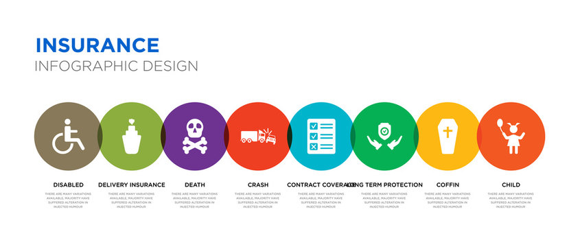 8 colorful insurance vector icons set such as child, coffin, long term protection, contract coverage, crash, death, delivery insurance, disabled