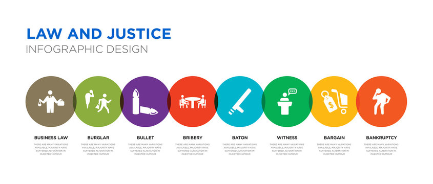 8 colorful law and justice vector icons set such as bankruptcy, bargain, witness, baton, bribery, bullet, burglar, business law