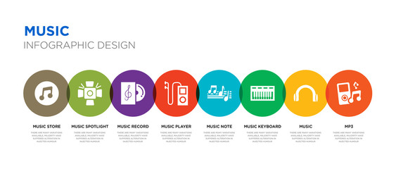8 colorful music vector icons set such as mp3, music, music keyboard, note, player, record, spotlight, store