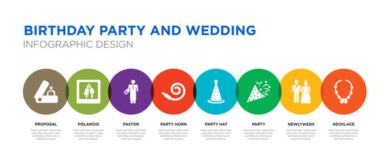 8 colorful birthday party and wedding vector icons set such as necklace, newlyweds, party, party hat, horn, pastor, polaroid, proposal