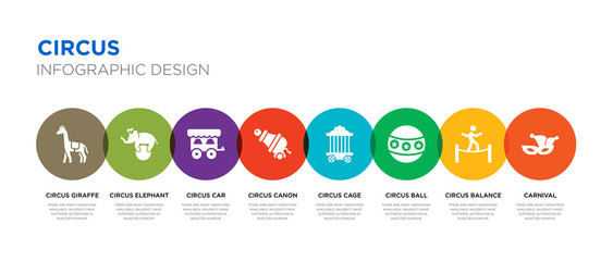 8 colorful circus vector icons set such as carnival, circus balance, circus ball, cage, canon, car, elephant, giraffe