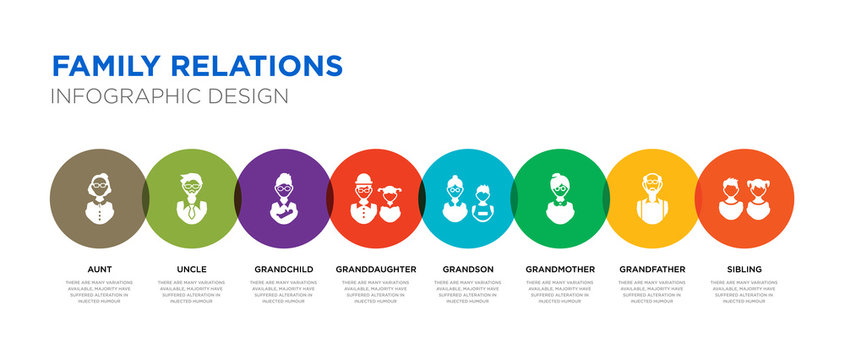 8 colorful family relations vector icons set such as sibling, grandfather, grandmother, grandson, granddaughter, grandchild, uncle, aunt