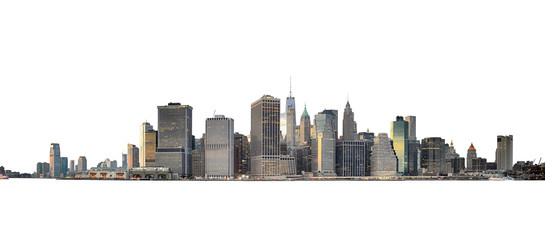 Manhattan skyline isolated on white.