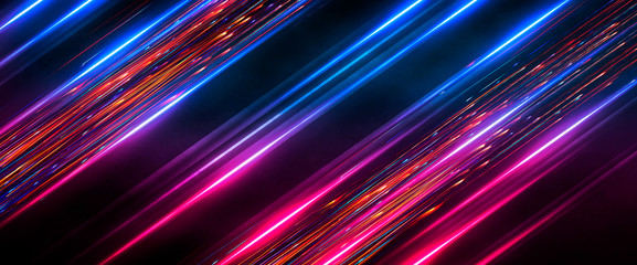Fotomurales - Dark abstract futuristic background. Neon lines, glow. Neon lines, shapes. Pink and blue glow.