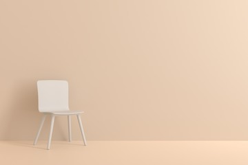 white chair in living room for interior or graphic backgrounds. Minimal style concept. pastel color style.