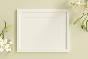 empty white picture frame for insert text or image inside with white flower decorate on yellow pastel color..