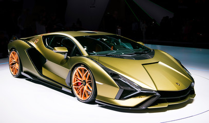 Lamborghini Sian FKP 37 sports car unveiled at the Frankfurt IAA Motor Show 2019