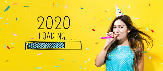 Loading new year 2020 with young woman with party theme on a yellow background