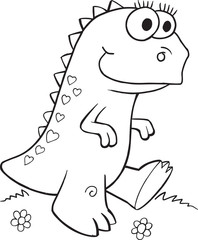 Photo sur cadre textile Cartoon draw Cute Dinosaur Illustration Vector Art