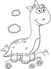 Fotobehang Cartoon draw Cute Dinosaur Illustration Vector Art