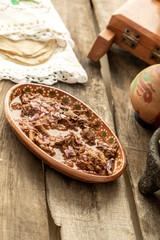 Fototapete - Mexican food. Plate of birria.