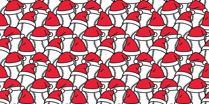 baseball seamless pattern Christmas vector Santa Claus hat softball sport cartoon scarf isolated tile background repeat wallpaper illustration doodle design