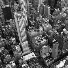 New York City from above in Black and White