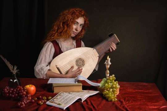 Red-haired girl in a historical suit plays the lute. Renaissance painting style.....