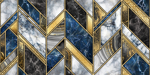 Wall Murals Geometric seamless abstract background, modern marble mosaic, art deco wallpaper, artificial stone texture, blue gold marbled tile, geometrical fashion marbling illustration