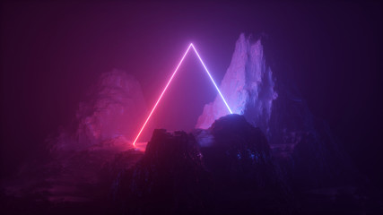 3d abstract neon background. Cosmic landscape, terrain at night, foggy rocks, ground. Triangular frame, red blue violet light, virtual reality, energy source, dark space, laser ring. Sacred geometry. Wall mural