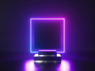 Abstract neon background. 3d shiny metallic podium with glowing square frame. Blank product showcase stand, commercial mockup with copy space. Performance stage.