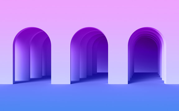 3d render, abstract ultraviolet modern geometric background, architectural concept, arch inside violet wall, paper layers