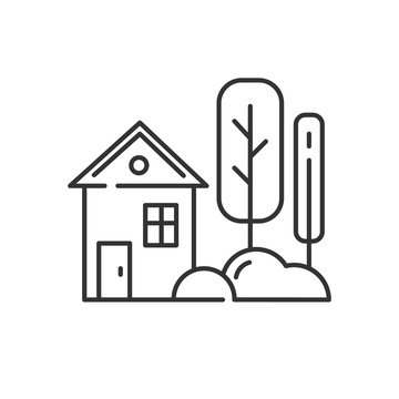 Small house with garden linear icon. Countryside house, townhome exterior. Thin line contour symbols. Isolated vector outline illustration. Editable stroke