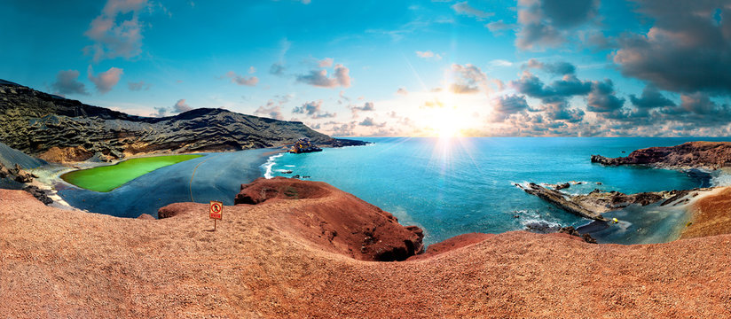 Canary island and Spanish beach.Scenic landscape Green lake in El Golfo, Lanzarote island, Spain