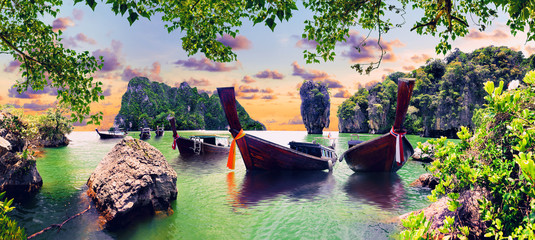 Scenic Phuket landscape.Seascape and paradisiacal idyllic beach. Scenery Thailand sea and island .Adventures and exotic travel concept