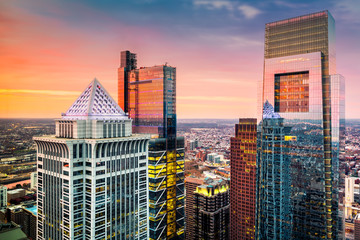 Wall Mural - Philadelphia aerial with downtown skyscrapers at sunset.