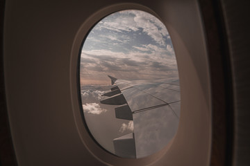 looking outside an airplane window