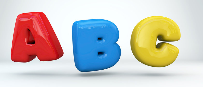 Inflatable Typerface collection. Glossy colored paint letters A,B, C. 3D render of bubble font with glint and ring light reflection isolated on white background.